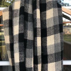 Beige and Black Buffalo Check Plaid Infinity Scarf